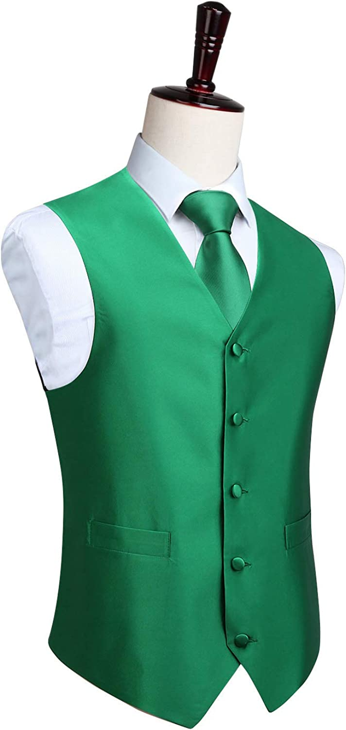 HISDERN Men's Paisley Jacquard Solid Waistcoat & Necktie and Pocket Square Vest Suit Tuxedo Set Green