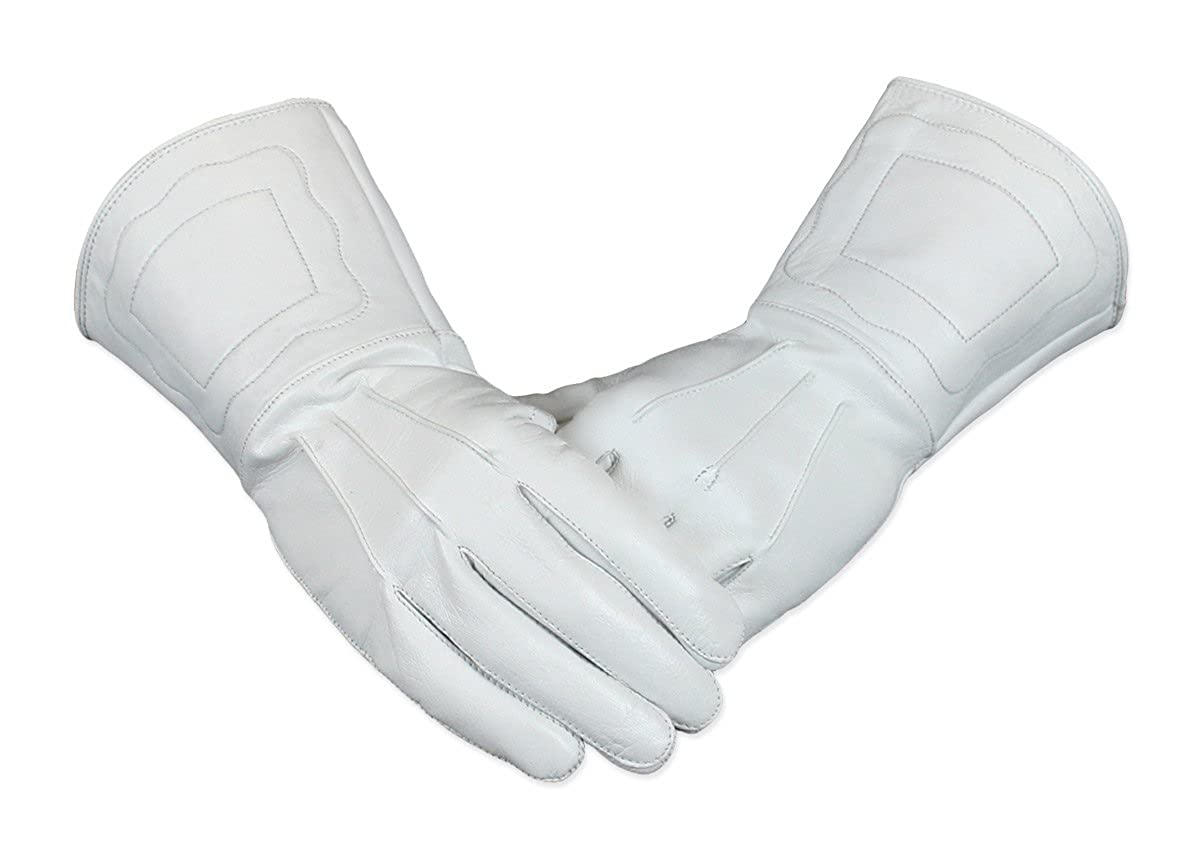 Renaissance Men Genuine White Leather Gauntlet Gloves