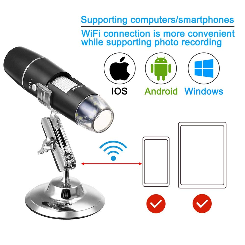 Ybriefbag Digital Microscope 1000X WiFi Digital Microscope Magnifier Camera 8LED Stand for Android iOS Color : Black, Size : One Size