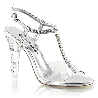 Amazon.com | Womens T Strap Heels Silver Rhinestone Ankle Strap ...