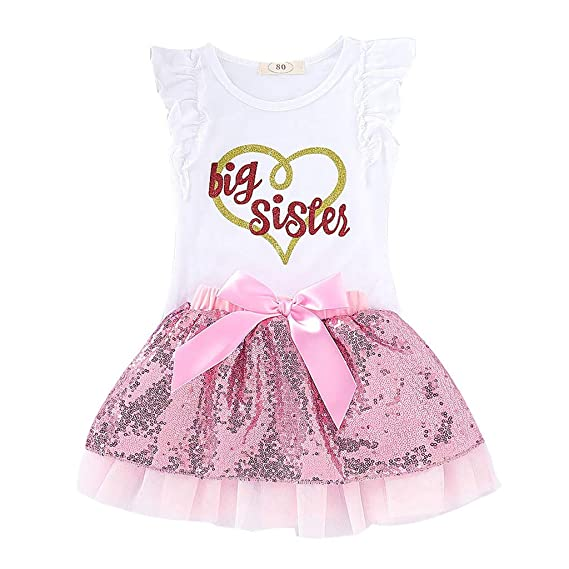 2PCS Infant Kids Girl Long Sleeve Tops Pullover+Tutu Skirt Dress Outfit US