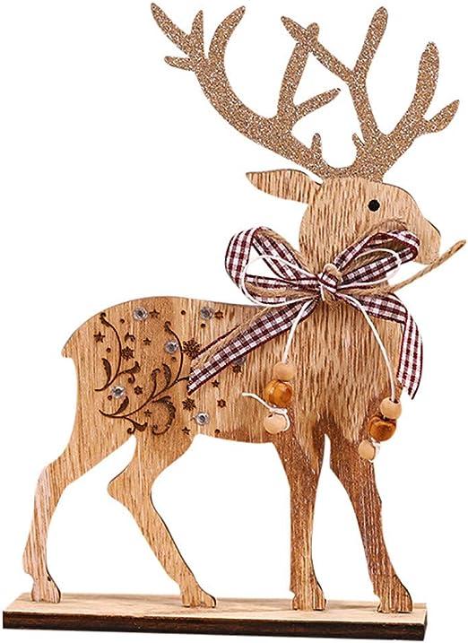 HOLD HIGH Adornos de Madera para árbol de Navidad, Alces de Ciervo ...