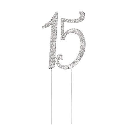 STOBOK Numero 15 Topper Tarta Decoracion para Tartas Cumpleaños 15 Años Cake Topper Strass Cristal Plata