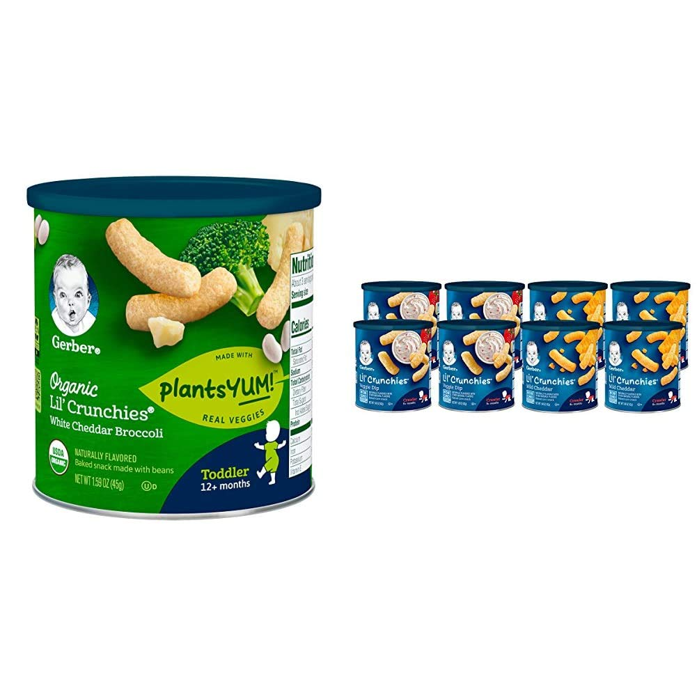 Gerber Organic Lil' Crunches Baked Corn Snack White Cheddar & Broccoli (Pack of 6) & Lil Crunchies, Mild Cheddar & Veggie Dip, 8 Count