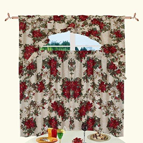 Decorative Christmas Printed Garden Design 3 Piece Kitchen Curtain Set