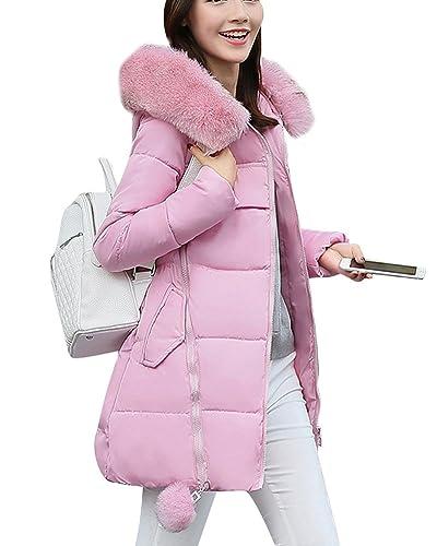 Mujer Chaqueta Larga De Elegante Abrigo De Algod¨®n Cremallera Outwear Con Capucha Pink M