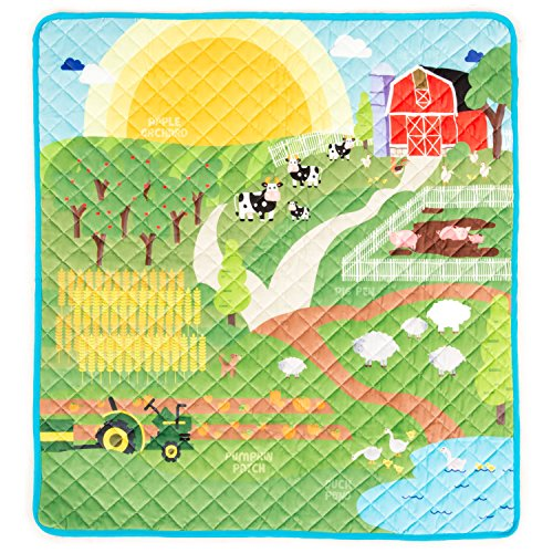 HIDEABOO Playmat for Baby and Kids 34 x 33 Inches - Floor Mat with Play Scene (Farm Receiving Blankets)