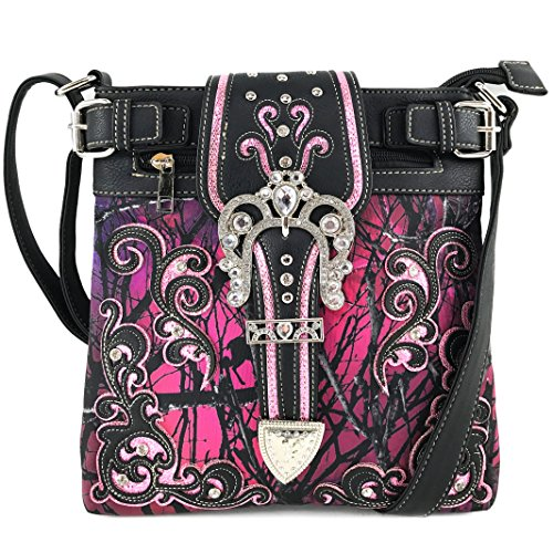 Justin West Tooled Gleaming Turquoise Stone Floral Laser Cut Rhinestone Messenger Bag Purse with Long Cross Body Strap (Black Purple)