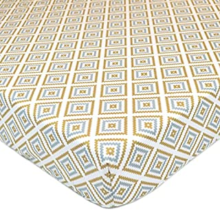 American Baby Company 100% Natural Cotton Percale Fitted Crib Sheet for Standard Crib and Toddler Mattresses, Sparkle Gold/Grey Kilim, Soft Breathable, for Boys and Girls