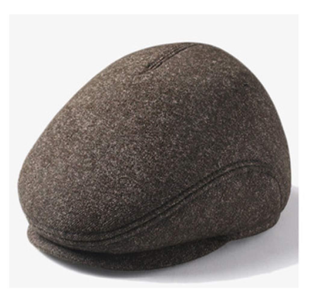 C 60CM Mens Winter Wool Newsboy Cap with Earmuffs Cold Weather Flat Cap Soft Plus Velvet Lined,5660cm