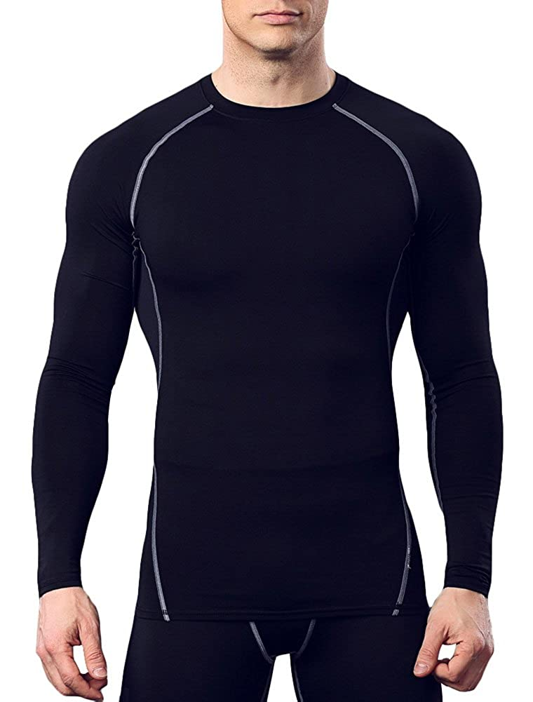 Cityoung Mens Long Sleeve Activewear Running Fitness Base Layer Compression T-Shirt