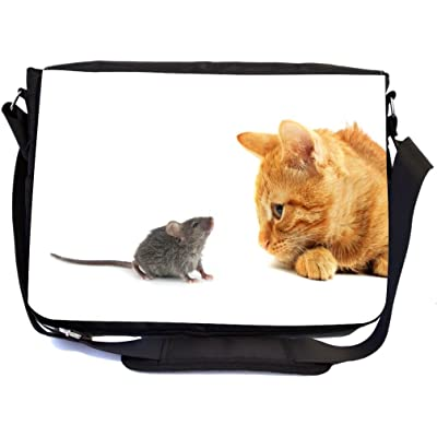 Rikki Knight Ginger Cat And Mouse Design Multifunctional Messenger Bag - School Bag - Laptop Bag - with padded insert for School or Work - Includes Matching Compact Mirror