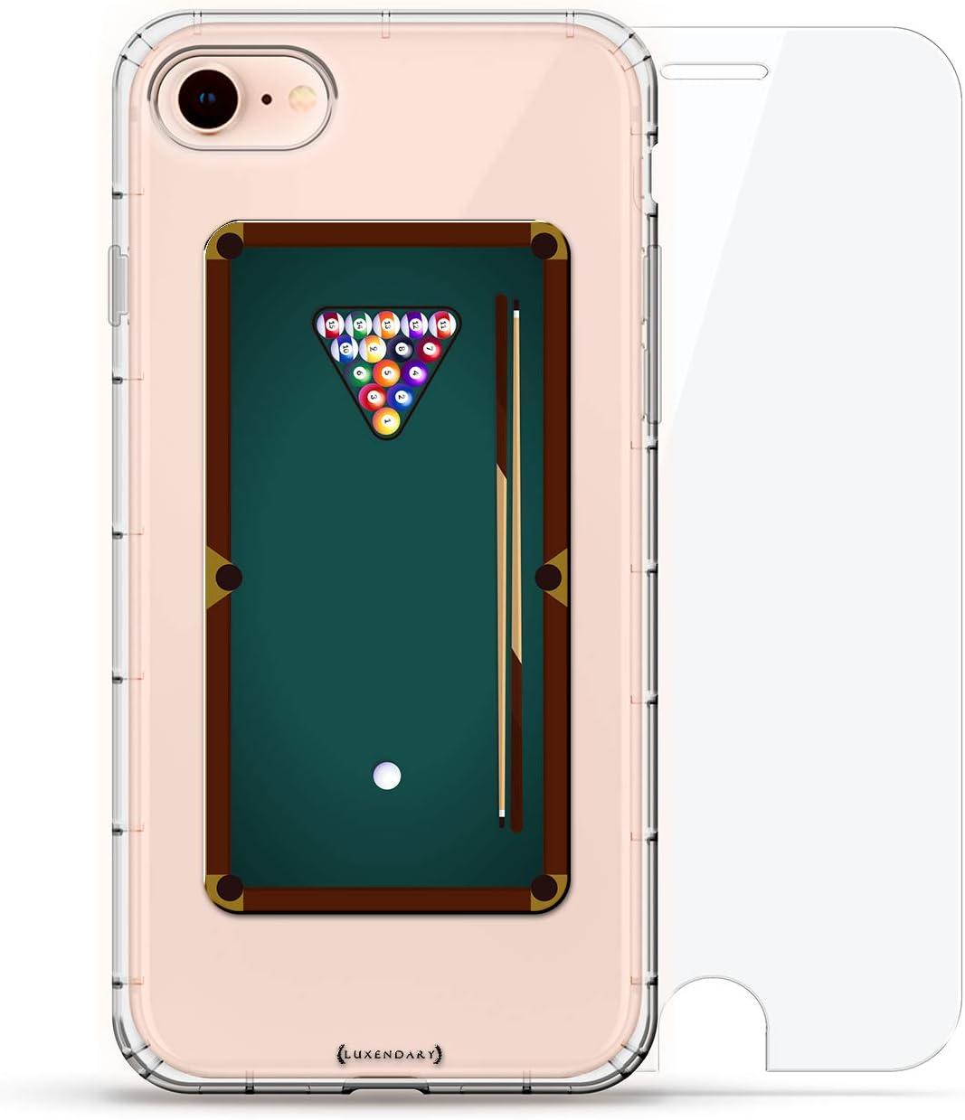 Sports: Mesa de Billar Animada | Luxendary Air Series 360 Bundle: Carcasa Transparente con diseño Impreso en 3D y Cojines de Aire + Vidrio Templado para iPhone 8/7: Amazon.es: Electrónica