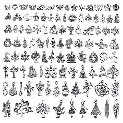 100pcs Mixed Style Bulk Antique Silver Vintage Christmas Charms Snowflake Socks Santa Claus Deer Charms for Pendants, Bangles, DIY Jewelry Making