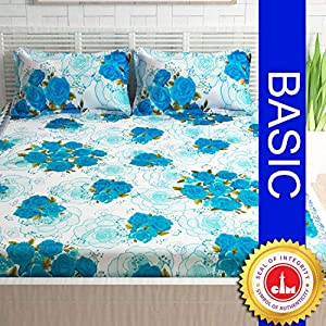 Divine Casa – Floral 100% Cotton Unique Design and Light Weight Double Bedsheet with 2 Pillow Covers, Blue