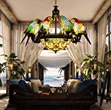 Makernier Vintage Tiffany Style Stained Glass 8 Arms Parrots Chandelier with Inverted Ceiling Pendant Lamp