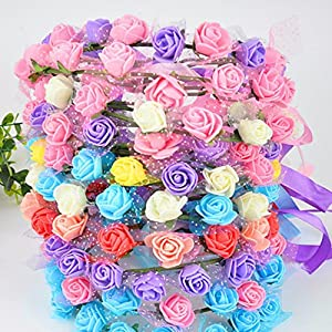 FLOWER 144pcs/pack 2cm Mini Foam Rose Artificial Bouquet Multicolor Rose Wedding Decoration Scrapbooking Fake Easter Gift (Green) 4