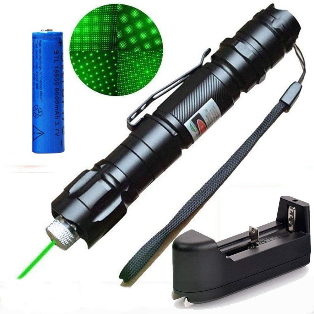 Areanas High Power 532nm Green UV Beam PowerPoint Clicker Demo - Linterna de viaje para exteriores (incluye batería 18650 + cargador), color verde