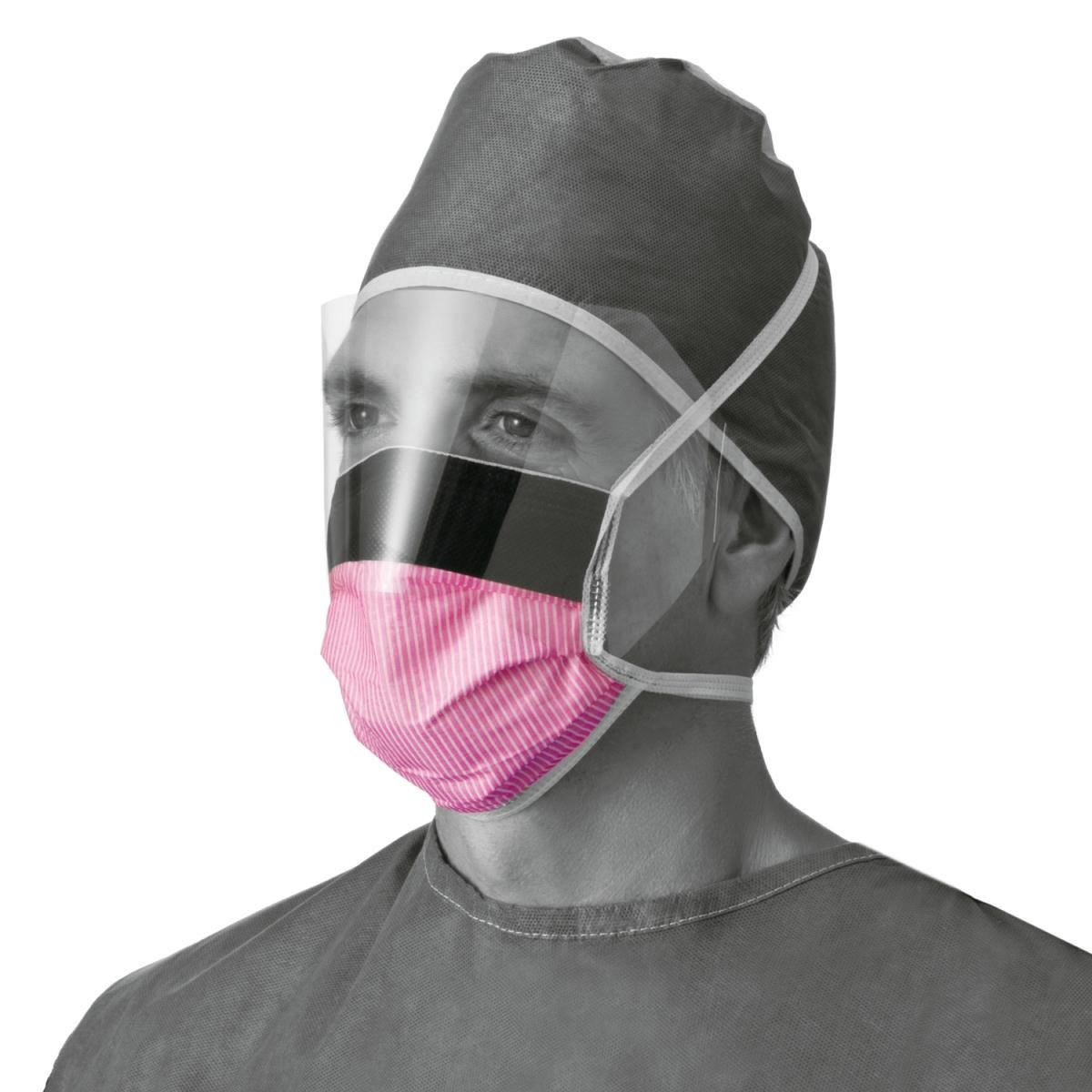 Medline Fluid-Resistant Surgical Face Masks with Eyeshield,Purple, 100 Each / Case