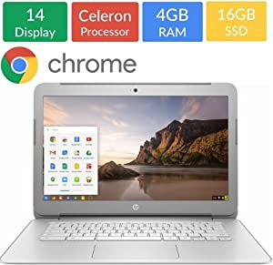 HP 14-inch Chromebook HD SVA (1366 x 768) Display, Intel Dual Core Celeron N2840 2.16GHz, 4GB DD3L RAM, 16GB eMMc Hard Drive, Stereo speakers, HD Webcam, Google Chrome OS (Renewed)