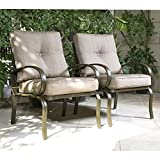 Cloud Mountain Set of 2 Club Chairs Outdoor Patio Wrought Iron Dining Chairs Garden Furniture Seating Chairs Set, Gradient Brown Cushion