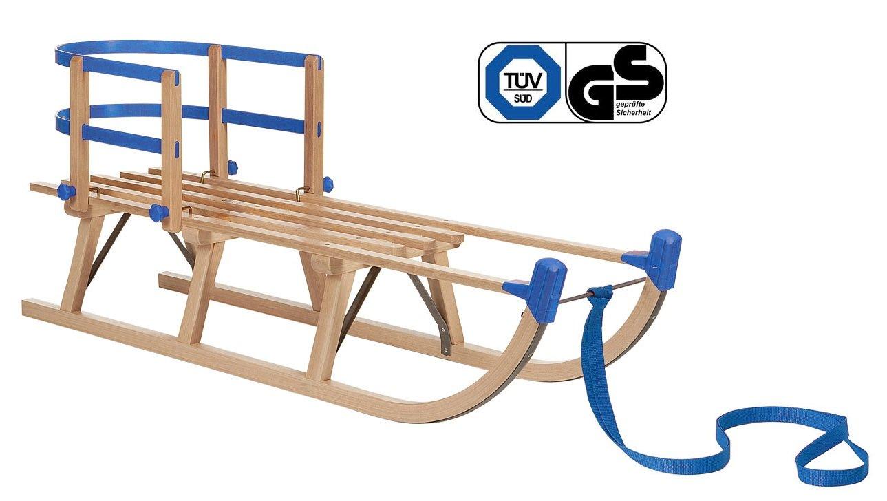 Impag® Holzschlitten Rodelschlitten mit Zuggurt und Lehne Blau Davos 105 - 125 cm lang