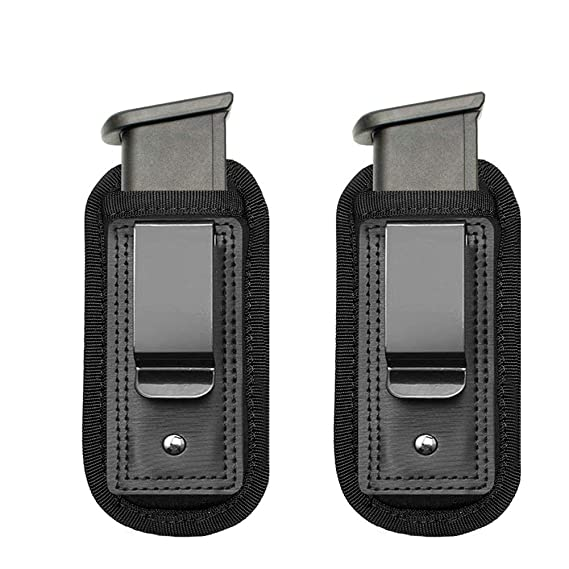 Review TACwolf 2 Pack IWB Inside Waistband Pistol Handgun Magazine Holster Pouch for Concealed Carry Universal Single Double Stack Mags For Glock17 26 19 Sig Sauer S&W Springfield XD Ruger 9mm/.45