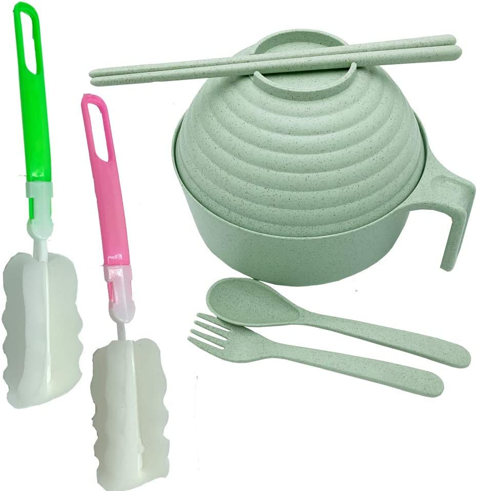 Green wheat straw bowl set, large degradable instant noodle bowl, noodle bowl with lid and handle, free spoon, chopsticks, fork, multiple sponges