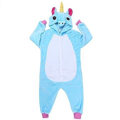 454b10acc0a31 Freebily Unisexe Enfants Pyjama Combinaison À Capuche Mignon Licorne Animaux  Déguisement Cosplay Costume Garçon Fille Vêtements