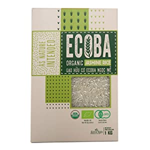 ECOBA Organic Jasmine Rice 1kg/35.27 oz – Vietnam Organic Long Grain Fragrant White Jasmine Rice - Sticky, Good Flavor, Vacuum Packed