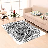 Nalahome Custom carpet Decor Gothic Smiling Skeleton Head with Flowers Day of the Dead Mexican Traditional Black White area rugs for Living Dining Room Bedroom Hallway Office Carpet (36''x60'')