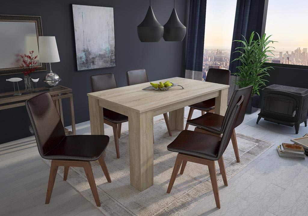 Comfort Home Innovation : Table à Manger 140 cm, Couleur chêne Clair, mesures : 80 Largeur x 138 Longueur 75 cm Hauteur 75 cm