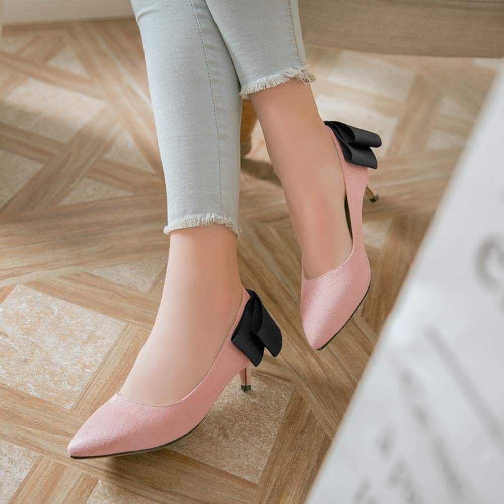 Btrada Women's Fashion Bowknot Pointy Toe Pumps Shallow Mouth Dress Shoes Shoes Dress Wedding Party Low Heel Stiletto B07G9ZBMCZ 6 M US|Pink 0ca54c