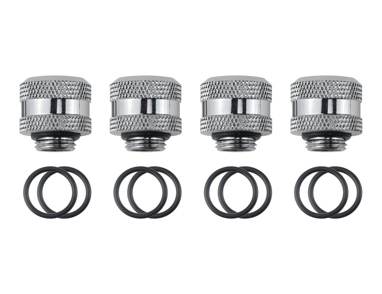 """BXQINLENX Silver Chrome G 1/4"""" to ID 10 mm, OD 14 mm PETG Triple Seal Fitting for Computer Water Cooling System Through Joint Straight Joint(4 PCS)"""