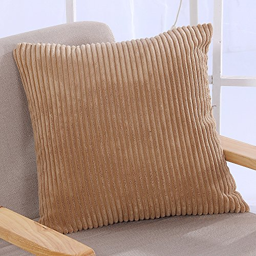 Brown Velvet Pillow - Famibay Super Soft Cushion Covers 18 x 18,Decorative Square Striped Velvet Corduroy Throw Pillow Case Cover With Zipper (18