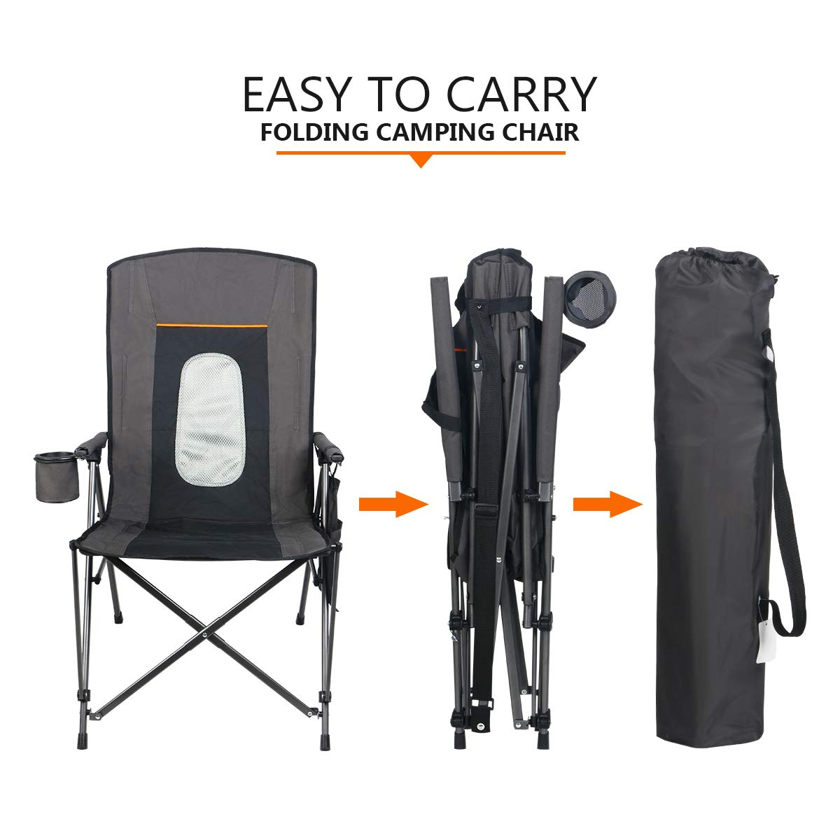 Support 300 lbs PORTAL Oversized Quad Folding Camping Chair High Back Cup Holder Hard Armrest Storage Pockets Carry Bag Included
