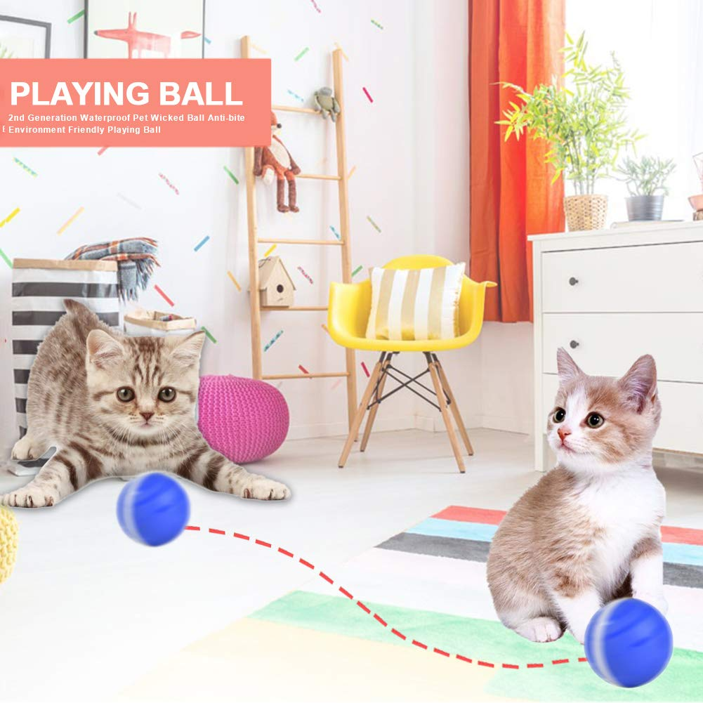 Colorful LED Lights Waterproof with Automatic Rolling//Shut Off Smart Interactive Pet Toys Ball with USB Rechargeable for Kittens Kitty Doggy Puppy Catinbow Cats and Dogs Toys Wicked Balls Blue