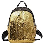 Outsta Fashion Sequins School Bag, Girl Backpack Satchel Student Travel Shoulder Bag Classic Basic Casual Daypack (Gold)