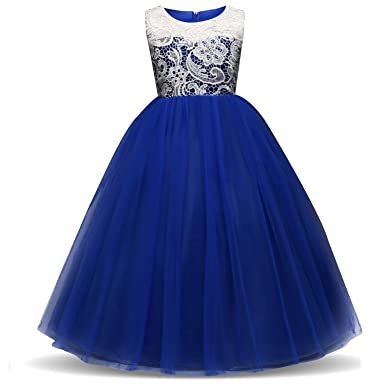Feicuan Girls Formal Dresses, Sleeveless Dress Lace Princess Bridesmaid Wedding Chiffon Party for 3-