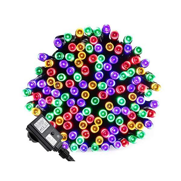 Qedertek Luci Albero di Natale, Catena Luminosa 20M 200 LED, Luci di Natale Esterno ed Interno, Filo verde scuro, Luci Colorate Addobbi Natalizi Esterno, Luci Natalizie da Esterno ed Interno 1 spesavip