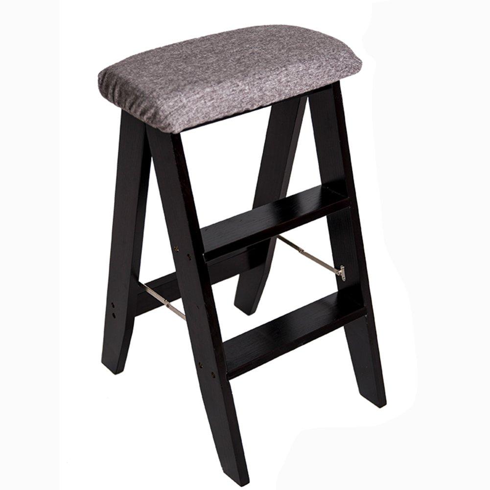 折りたたみラダースツール3ステップスツールソリッドウッド家庭室内の創造性キッチンダイニングテーブルバーチェアアダルトポータブルブラックウォールナットカラー (色 : グレー) B07D6YHH45 グレー グレー