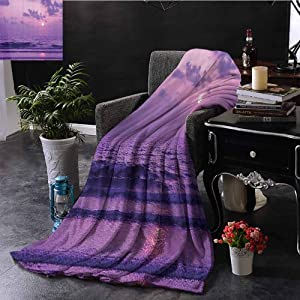 "GGACEN Queen Size Blanket Mystic View of Sunset Over a Tranquil Sea with Small Waves Moving to The Shore Print Extra Cozy, Machine Washable, Comfortable Home Decor 50""x70"" Inch"