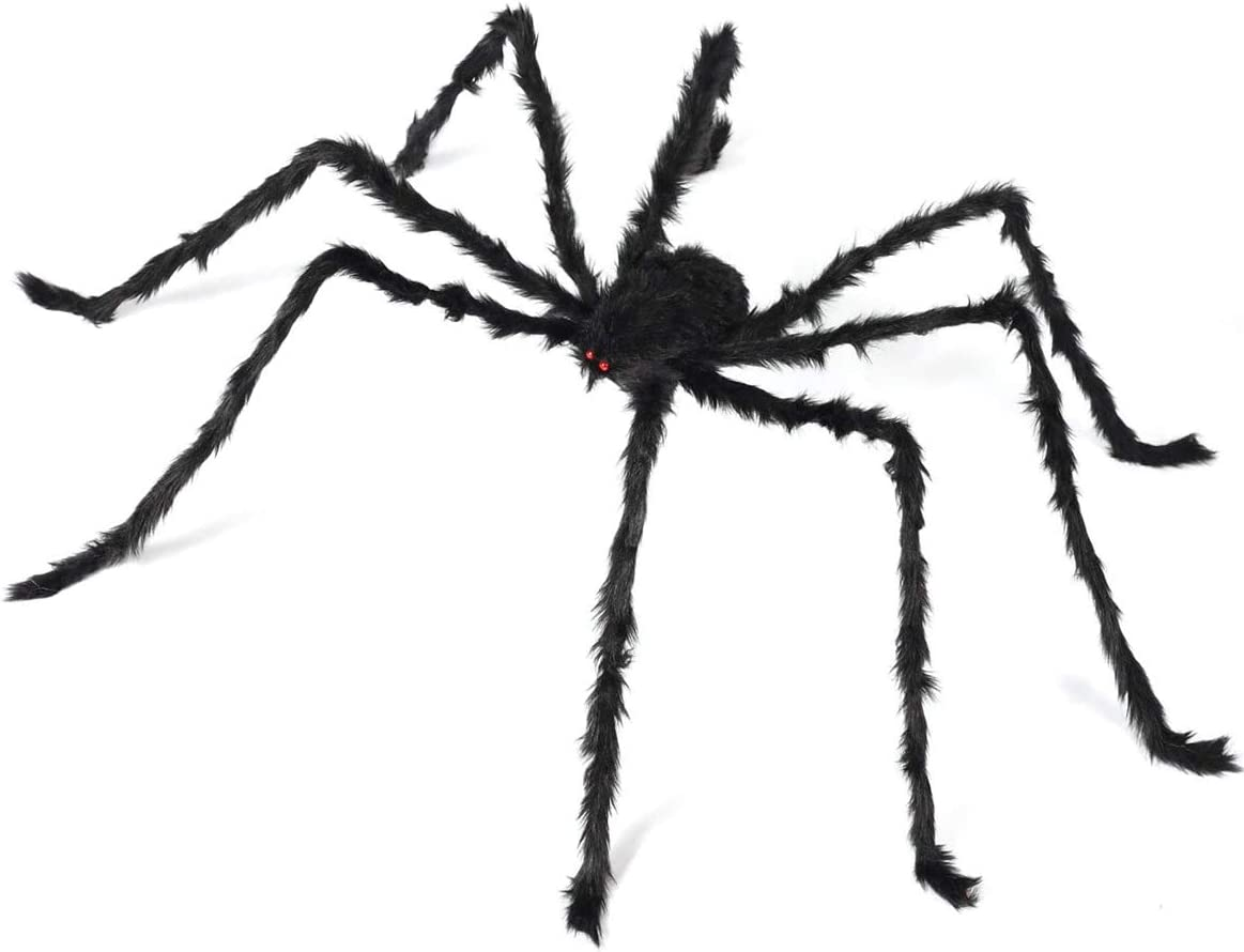 6.6ft Giant Hairy Spider Halloween Decorations Outdoor Spider Furry Black Giant Scary Fuzzy Spiders Outside Indoor Yard Wed Decor Party Favor