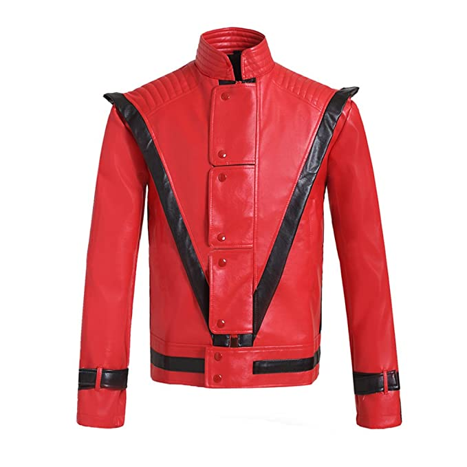 Mesky Michael Jackson Chaqueta Cosplay para Hombres Jacket PU Invierno Abrigo Disfraz Traje de Escenario Accesorio: Amazon.es: Ropa y accesorios