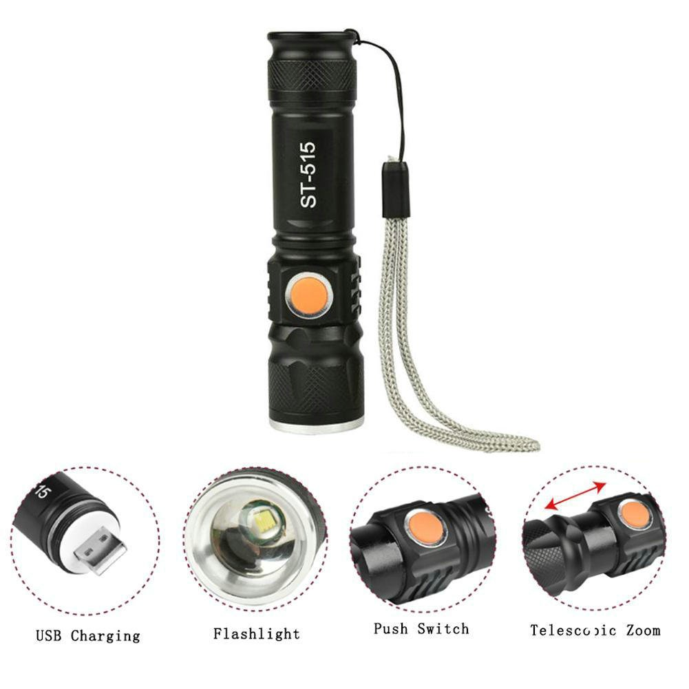 GuDoQi Handheld Flashlights USB Rechargeable Mini LED Torch Zoomable Adjustable Focus Flashlight Super Bright for Hiking Camping Emergency