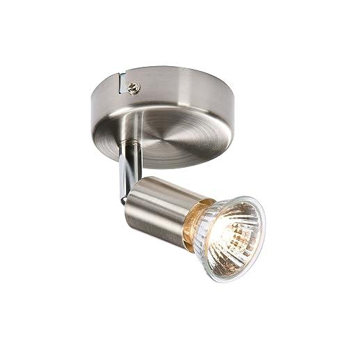 Knightsbridge SPGU1BC GU10 50 Watt 1 x Halogen Brushed Chrome Spot Light on Circular Base Suitable With LED, Halogen or CFL