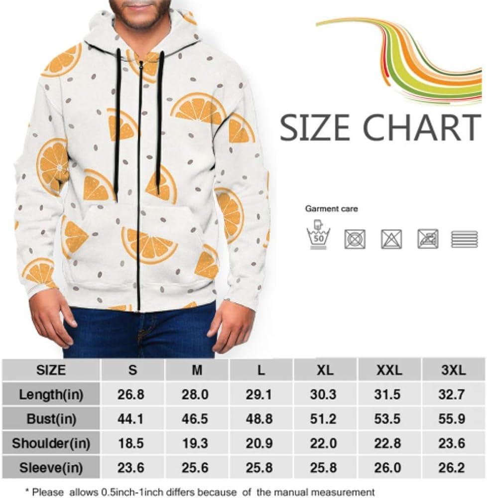 Long Sleeve Hoodie Print Chia Pudding Orange Slices Jacket Zipper Coat Fashion Mens Sweatshirt Full-Zip S-3xl