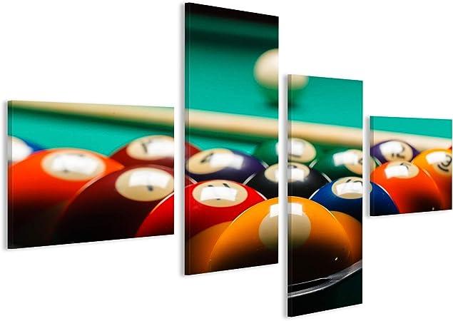 Cuadro Cuadros Bolas de Billar en una Mesa de Billar. Tela de Lienzo fotografía HD GFG: Amazon.es: Hogar
