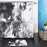Vanfan Bathroom 2?Suits 1 Shower Curtains & ?1 Floor Mats abstract hand painted black and white background acrylic painting on canvas wallpaper texture 548641849 From Bath room
