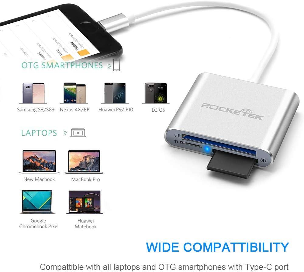 Xiaomi More Type-C Dispositivi. Samsung Note9 Lenovo Yoga Adattatore per Scheda di Memoria OTG USB 3.0 Tipo C HUB per MacBook Rocketek Lettore di schede USB C SD//Micro SD//TF//CF LG Huawei